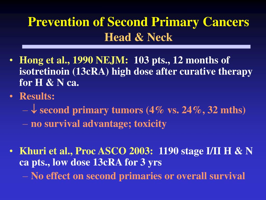 Prevention of Second Primary Cancers