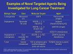 examples of novel targeted agents being investigated for lung cancer treatment