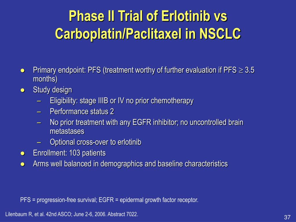 Phase II Trial of Erlotinib vs Carboplatin/Paclitaxel in NSCLC