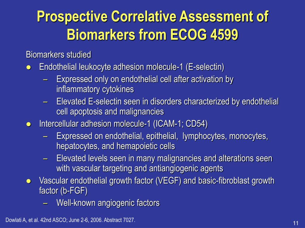 Prospective Correlative Assessment of Biomarkers from ECOG 4599