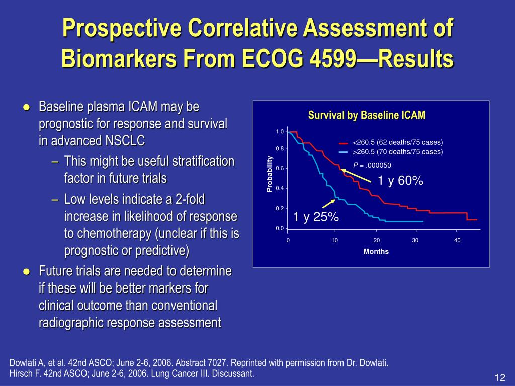 Prospective Correlative Assessment of Biomarkers From ECOG 4599—Results