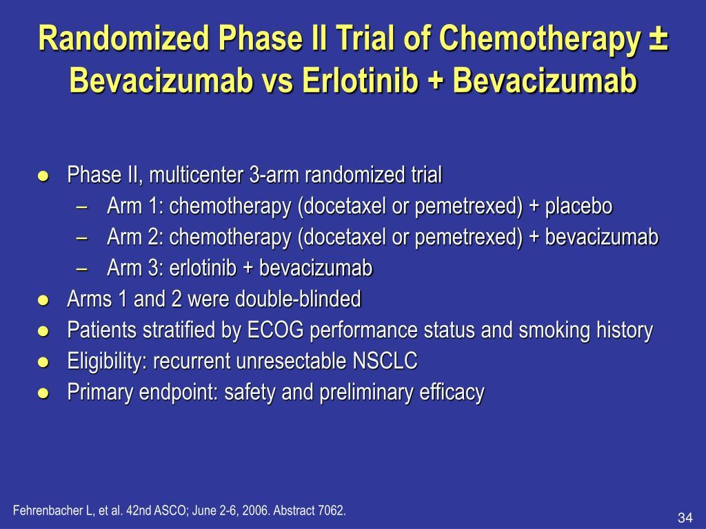 Randomized Phase II Trial of Chemotherapy ± Bevacizumab vs Erlotinib + Bevacizumab