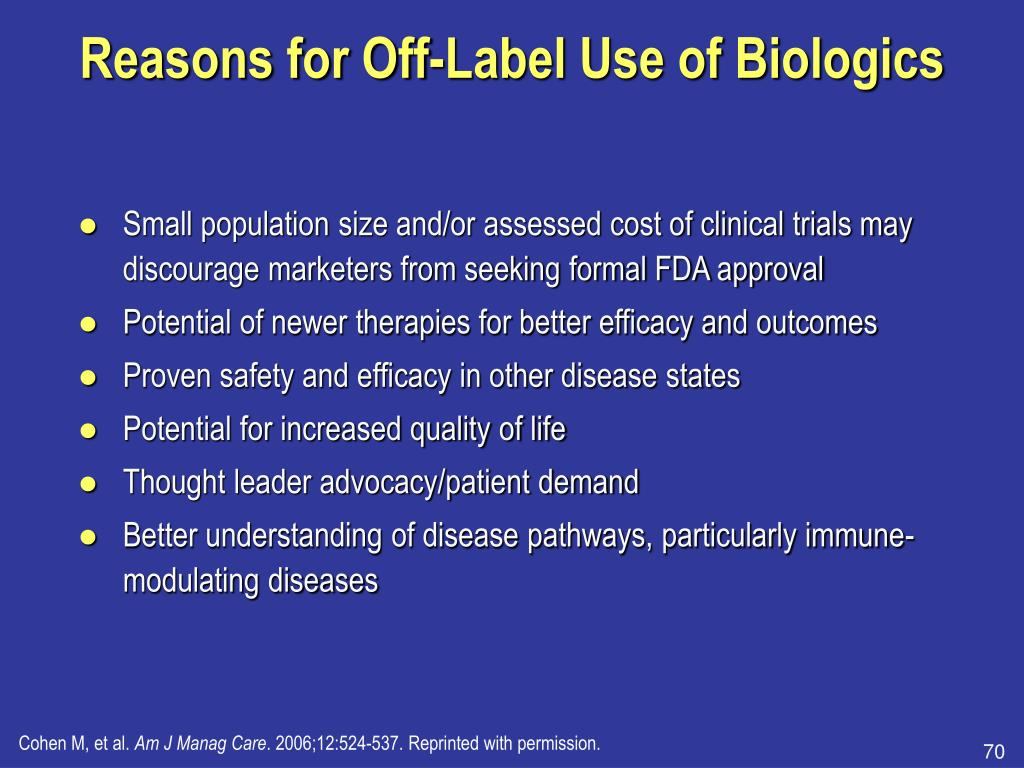 Reasons for Off-Label Use of Biologics