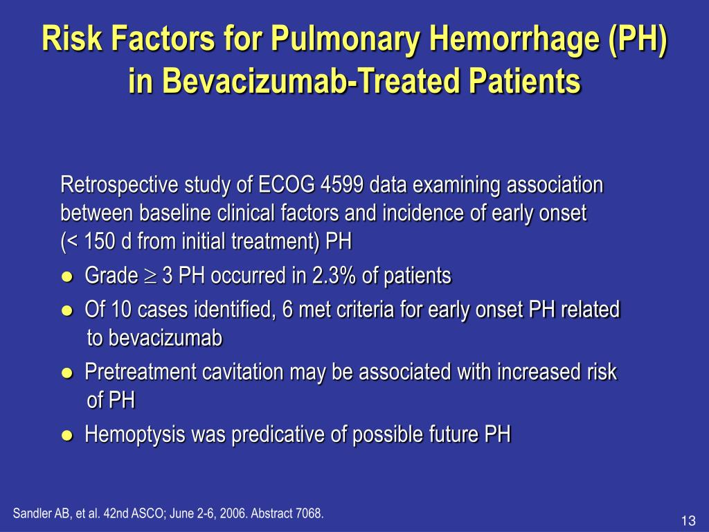 Risk Factors for Pulmonary Hemorrhage (PH) in Bevacizumab-Treated Patients