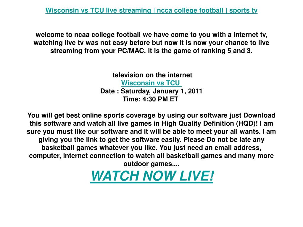 Wisconsin vs TCU live streaming   ncca college football   sports tv