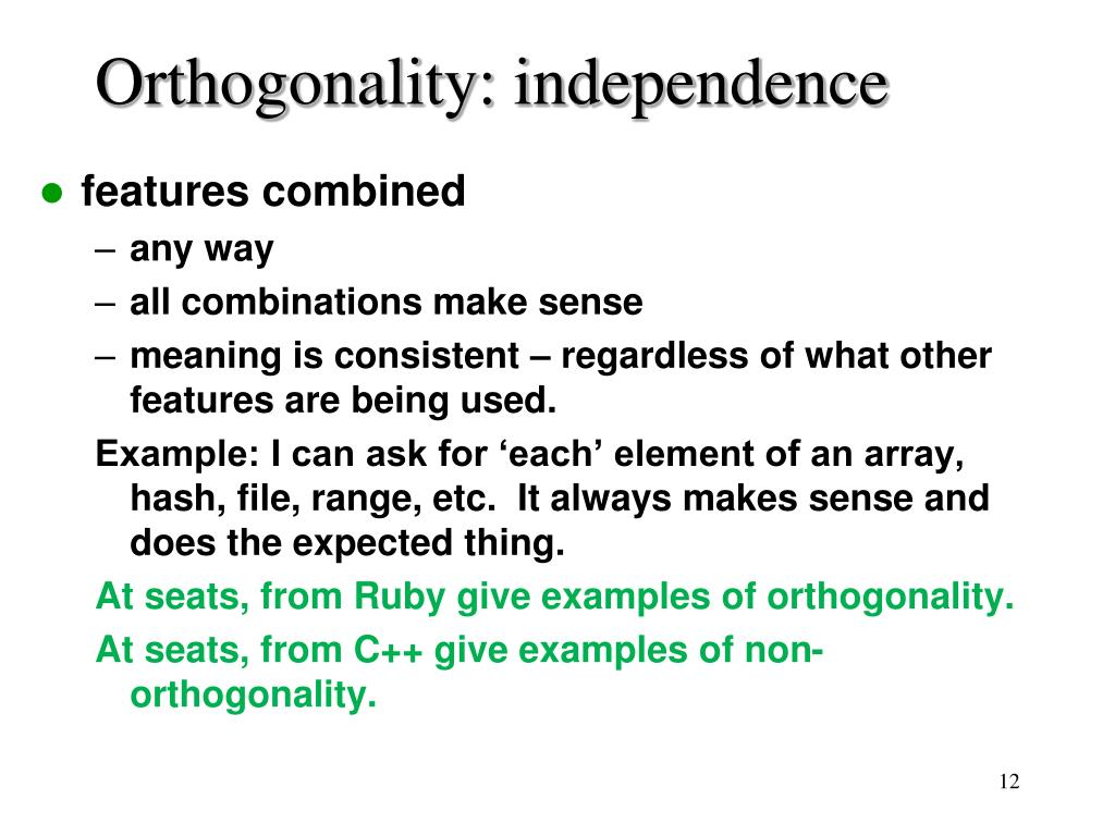 Orthogonality: independence