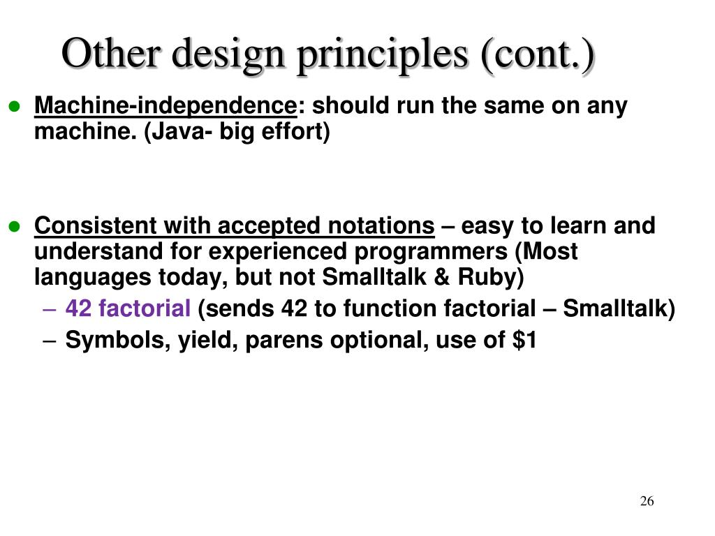 Other design principles (cont.)