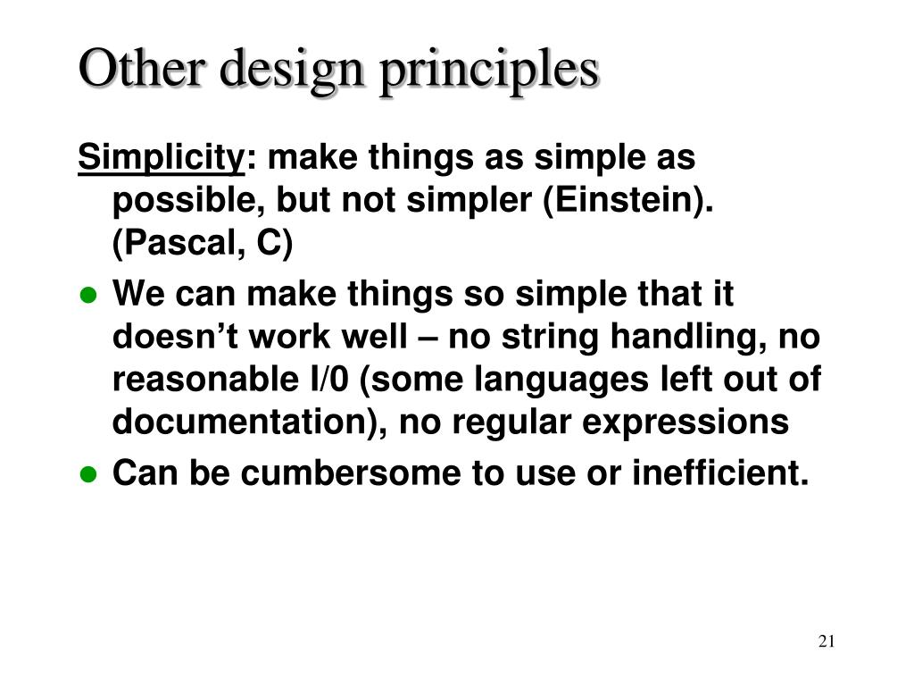 Other design principles