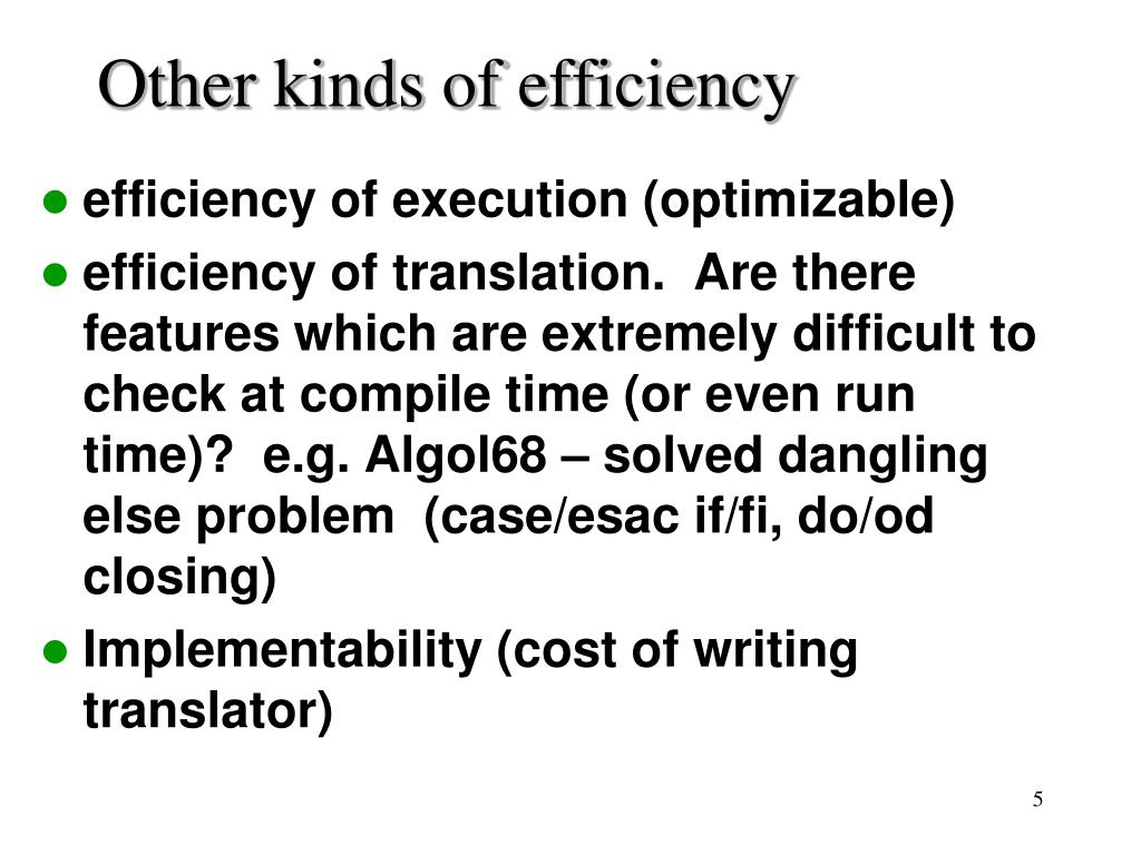 Other kinds of efficiency