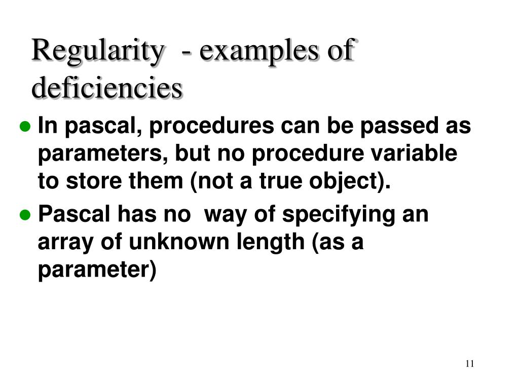Regularity  - examples of deficiencies