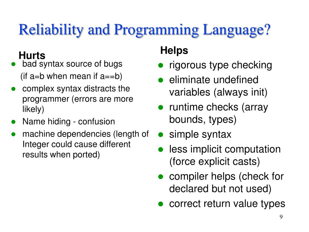 Reliability and Programming Language?