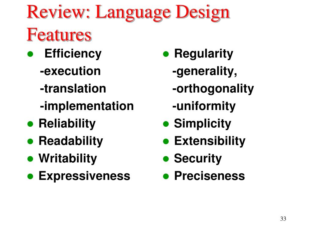 Review: Language Design Features