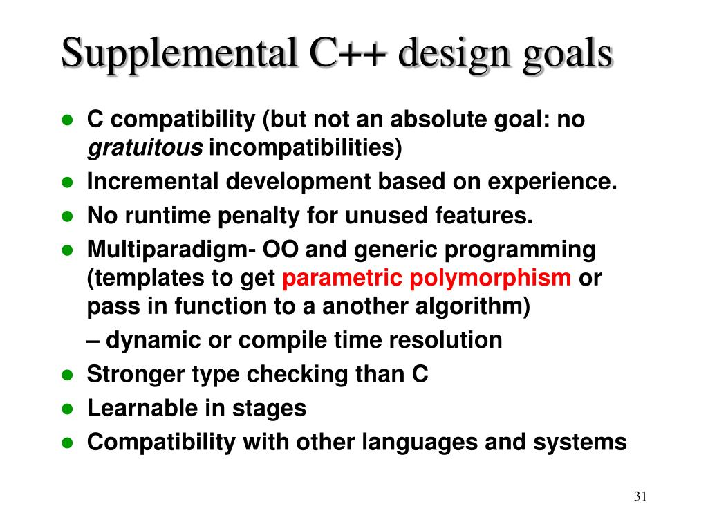 Supplemental C++ design goals