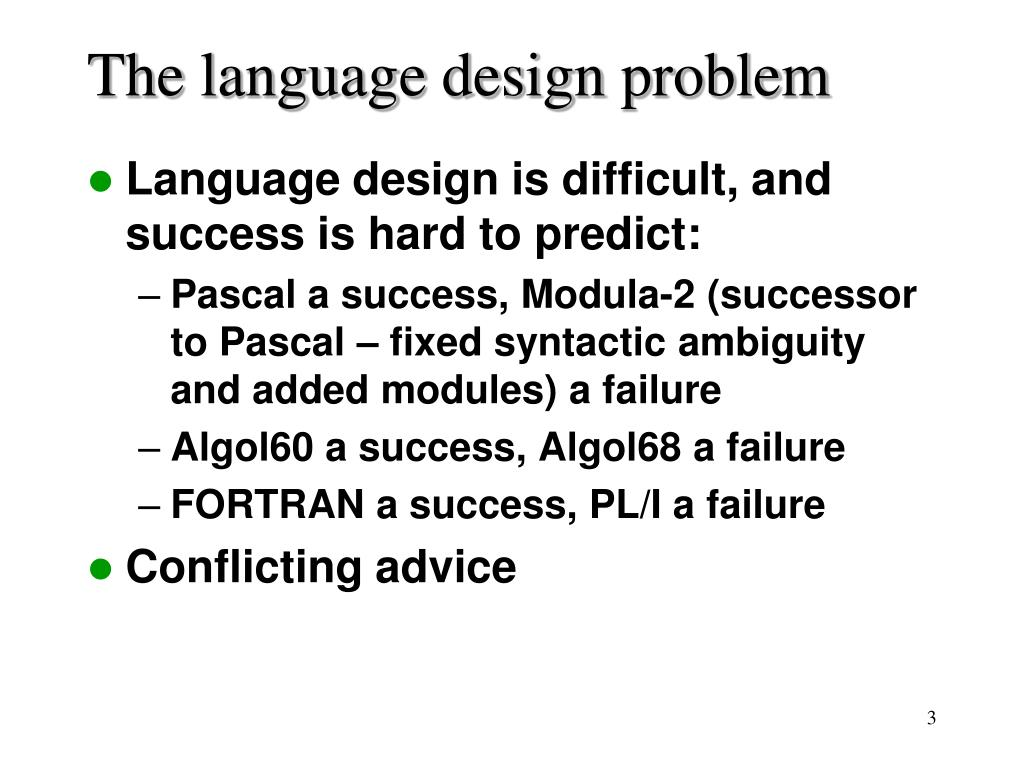 The language design problem