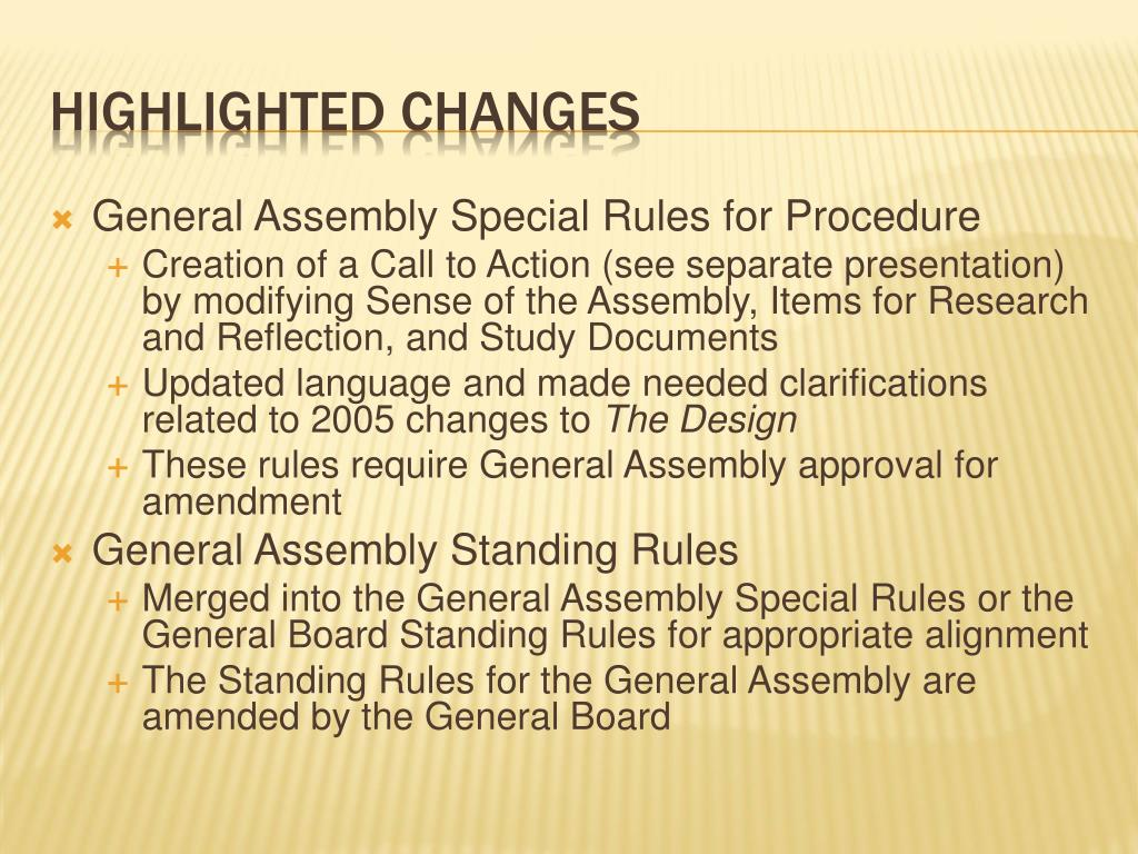 General Assembly Special Rules for Procedure