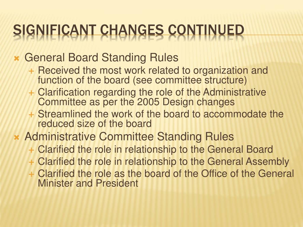 General Board Standing Rules