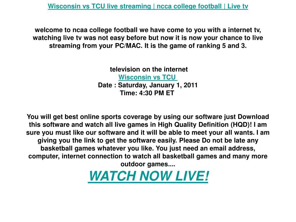 Wisconsin vs TCU live streaming | ncca college football | Live tv