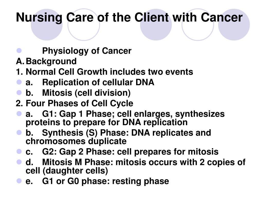 Nursing Care of the Client with Cancer