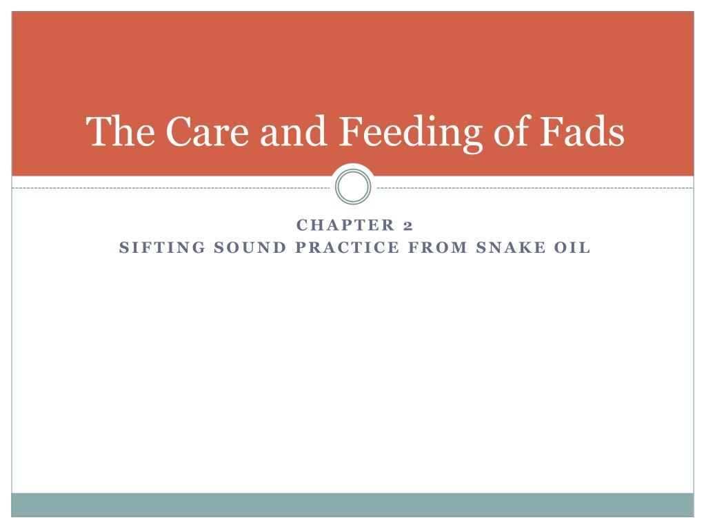 The Care and Feeding of Fads