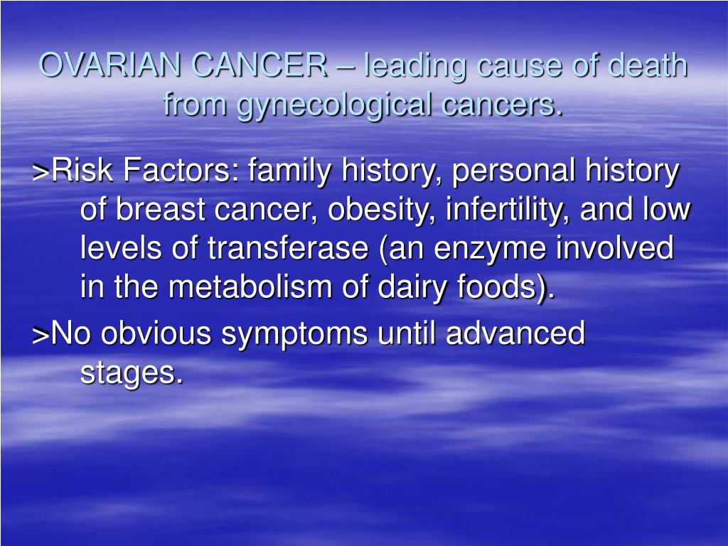OVARIAN CANCER – leading cause of death from gynecological cancers.