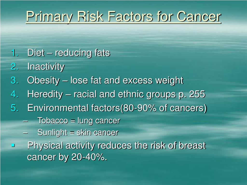 Primary Risk Factors for Cancer