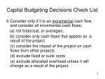 capital budgeting decisions check list3
