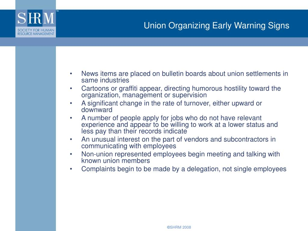 Union Organizing Early Warning Signs