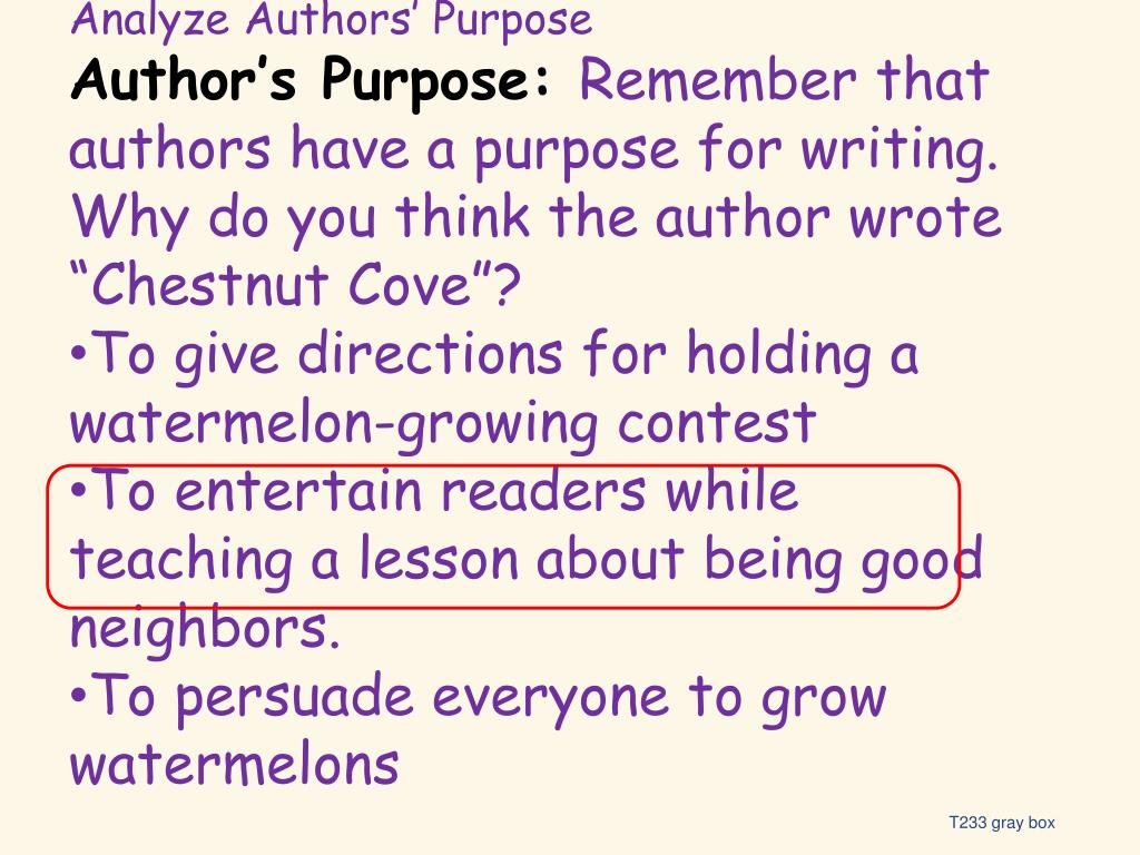 Analyze Authors' Purpose