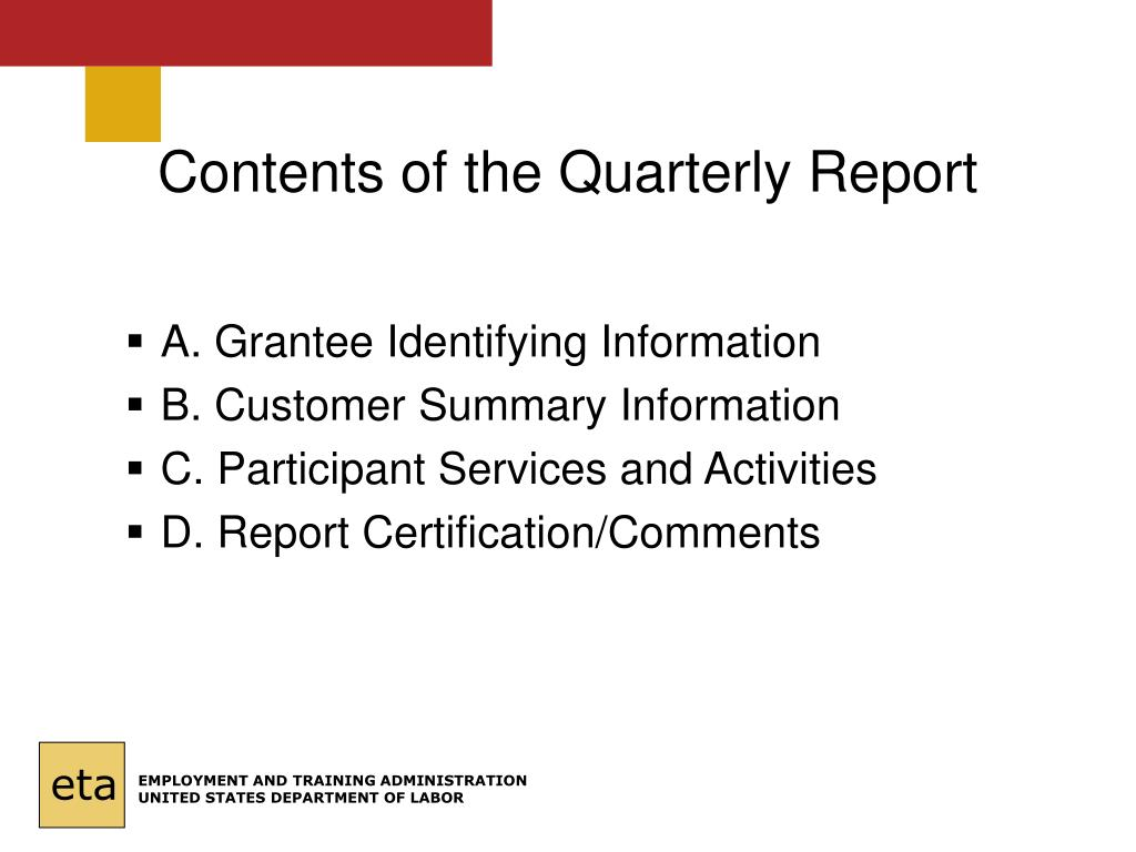 Contents of the Quarterly Report