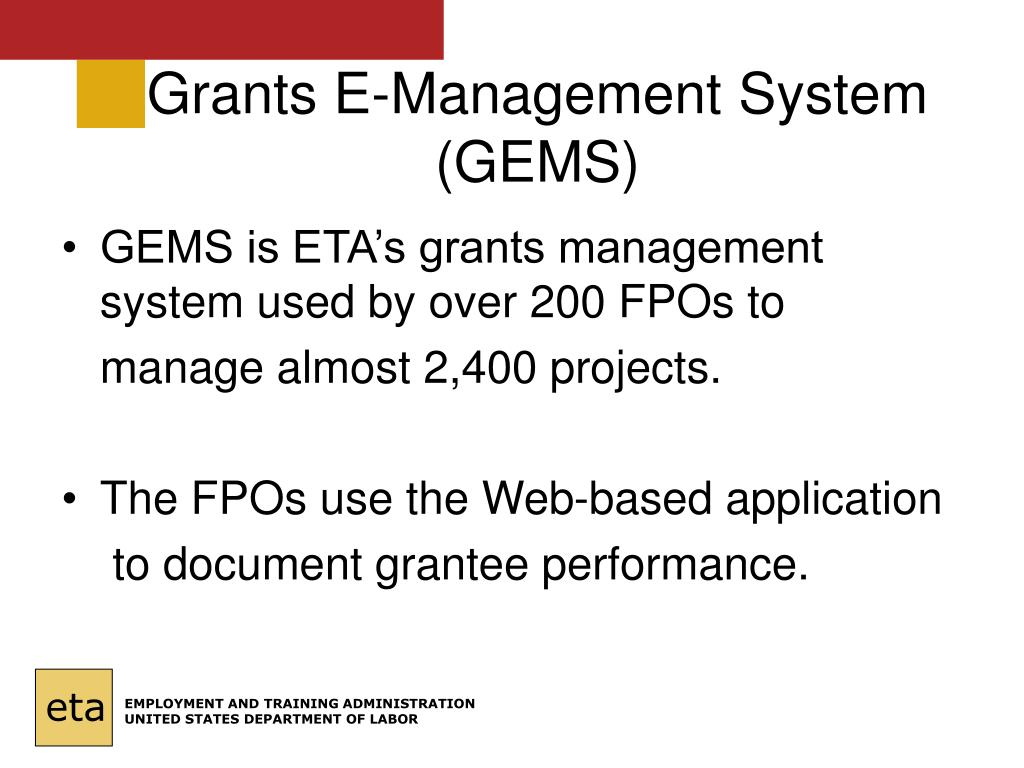 Grants E-Management System (GEMS)
