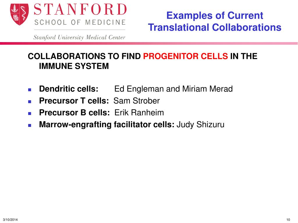 Examples of Current Translational Collaborations