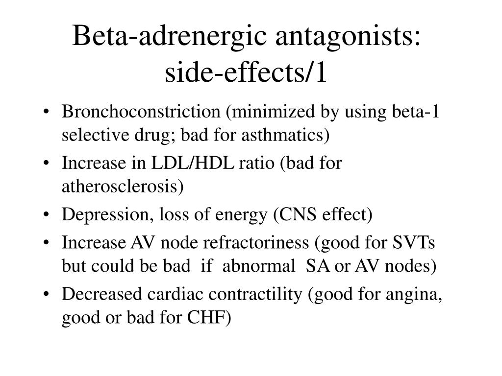 Beta-adrenergic antagonists: side-effects/1