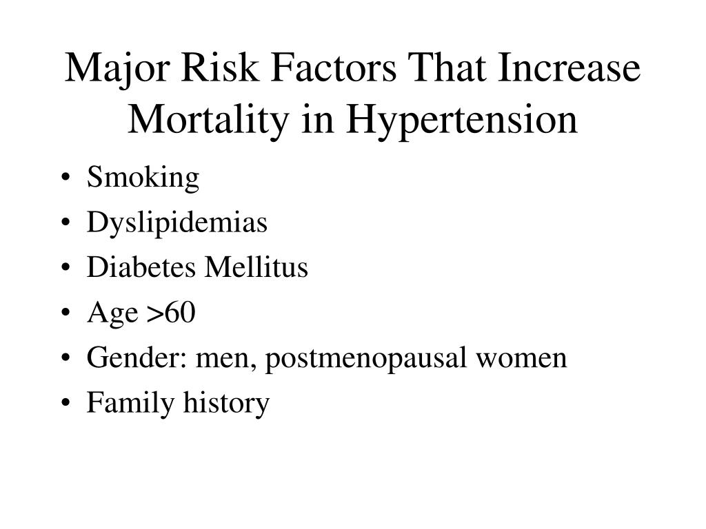 Major Risk Factors That Increase Mortality in Hypertension