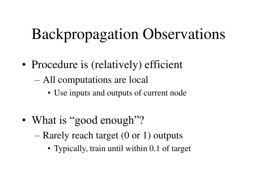 Backpropagation Observations