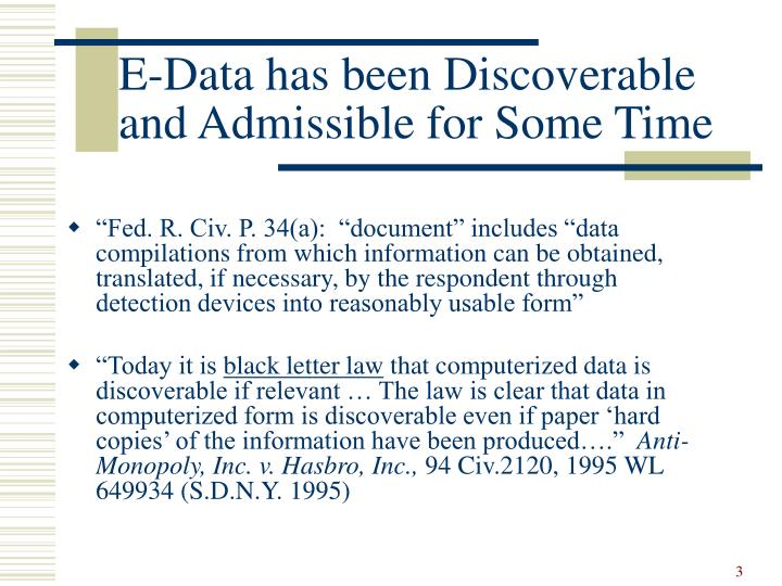 E data has been discoverable and admissible for some time