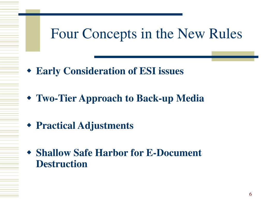 Four Concepts in the New Rules
