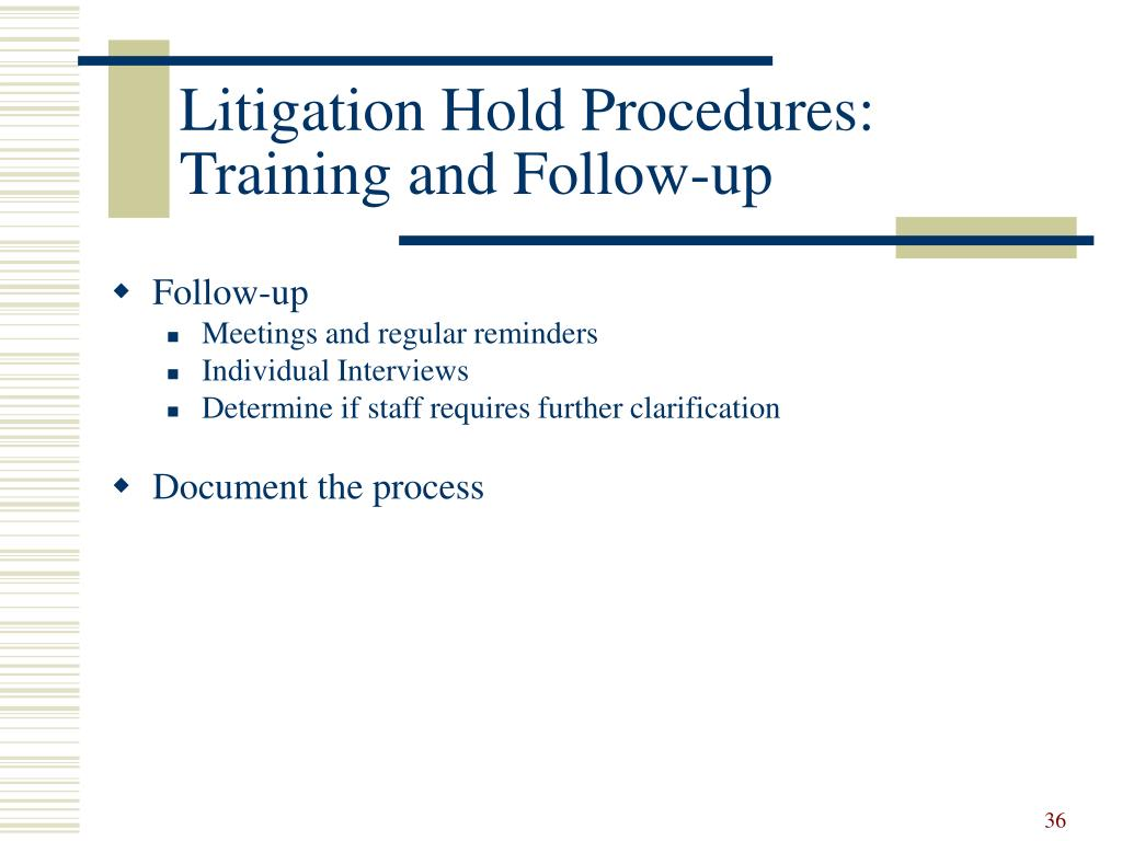 Litigation Hold Procedures: