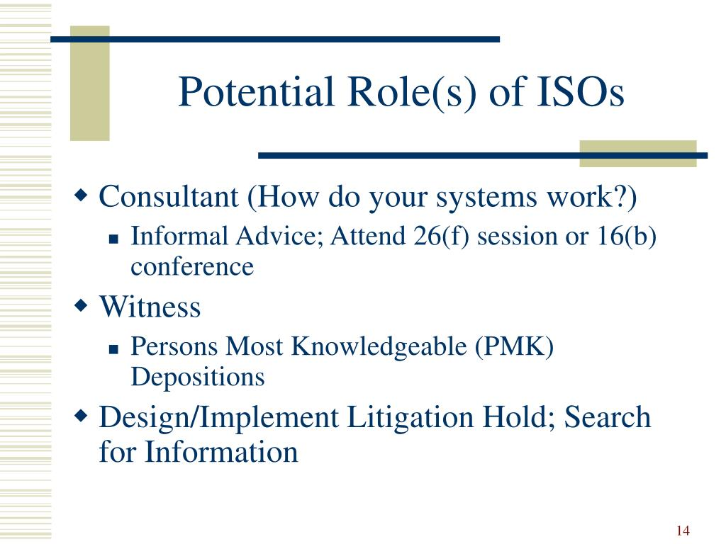 Potential Role(s) of ISOs