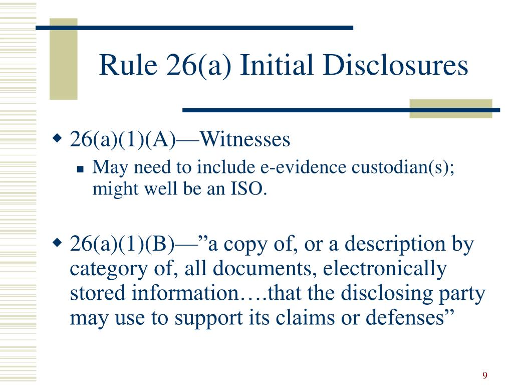 Rule 26(a) Initial Disclosures