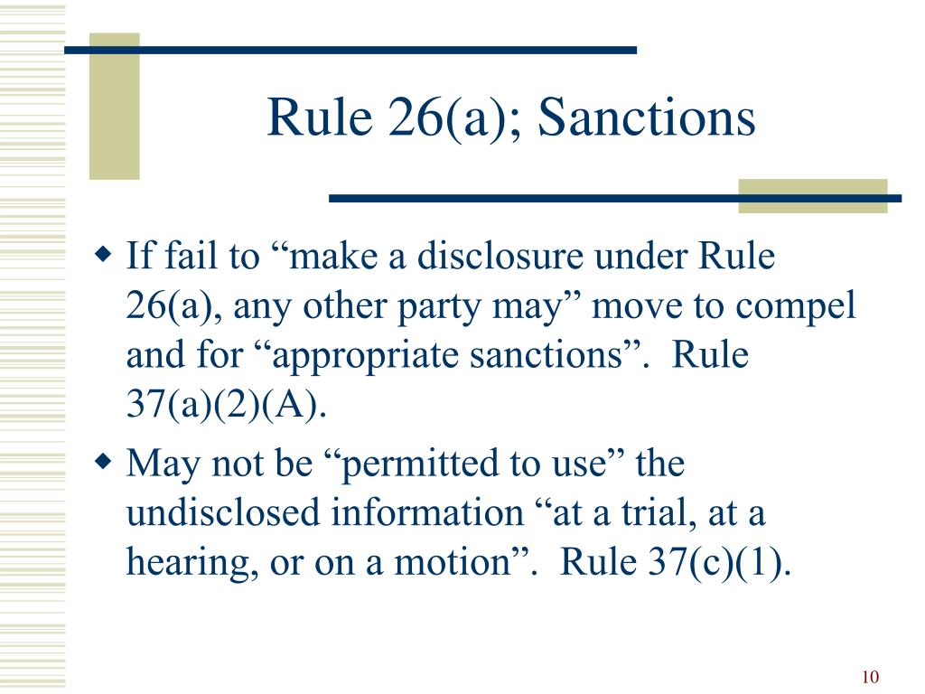 Rule 26(a); Sanctions