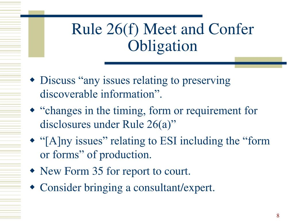 Rule 26(f) Meet and Confer Obligation