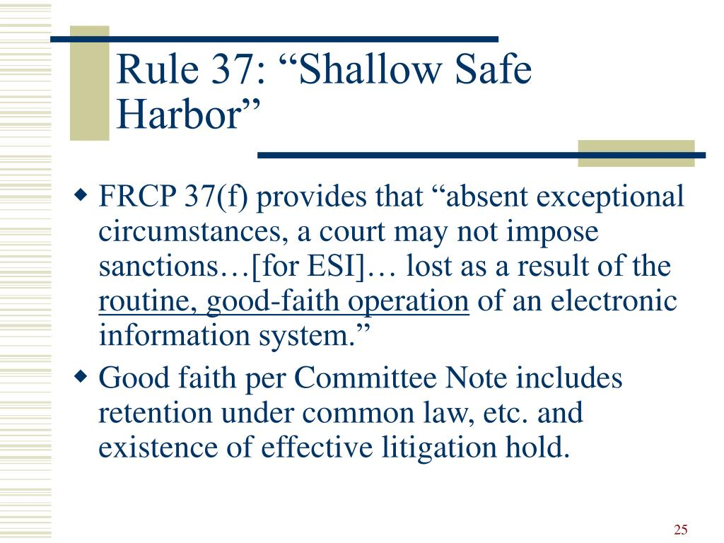 "Rule 37: ""Shallow Safe Harbor"""