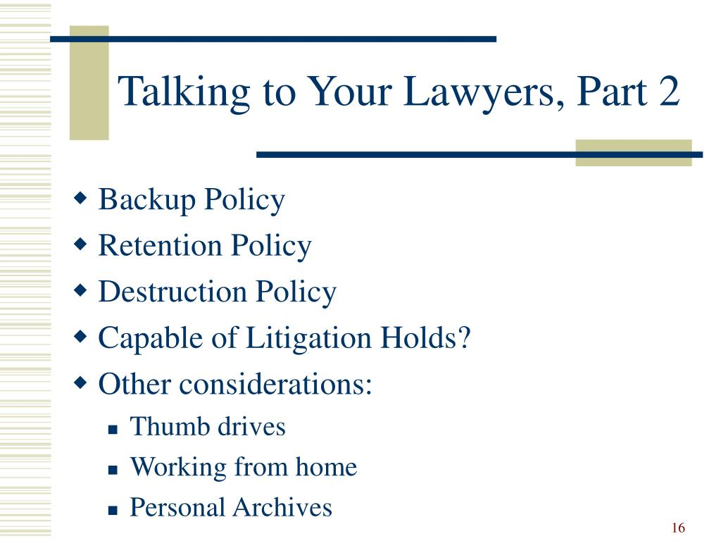 Talking to Your Lawyers, Part 2