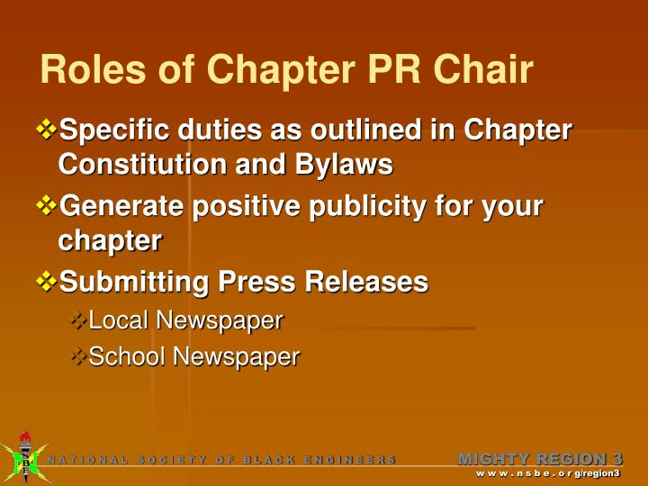 Roles of Chapter PR Chair