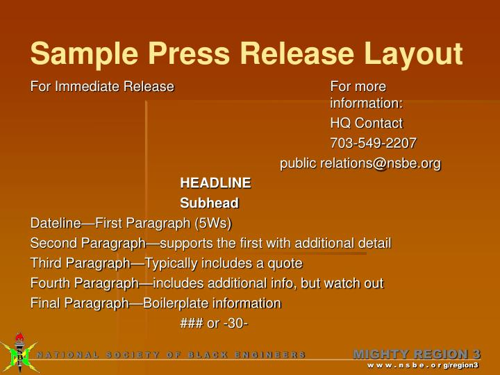 Sample Press Release Layout