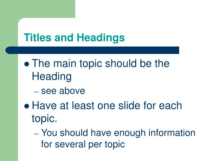 Titles and headings