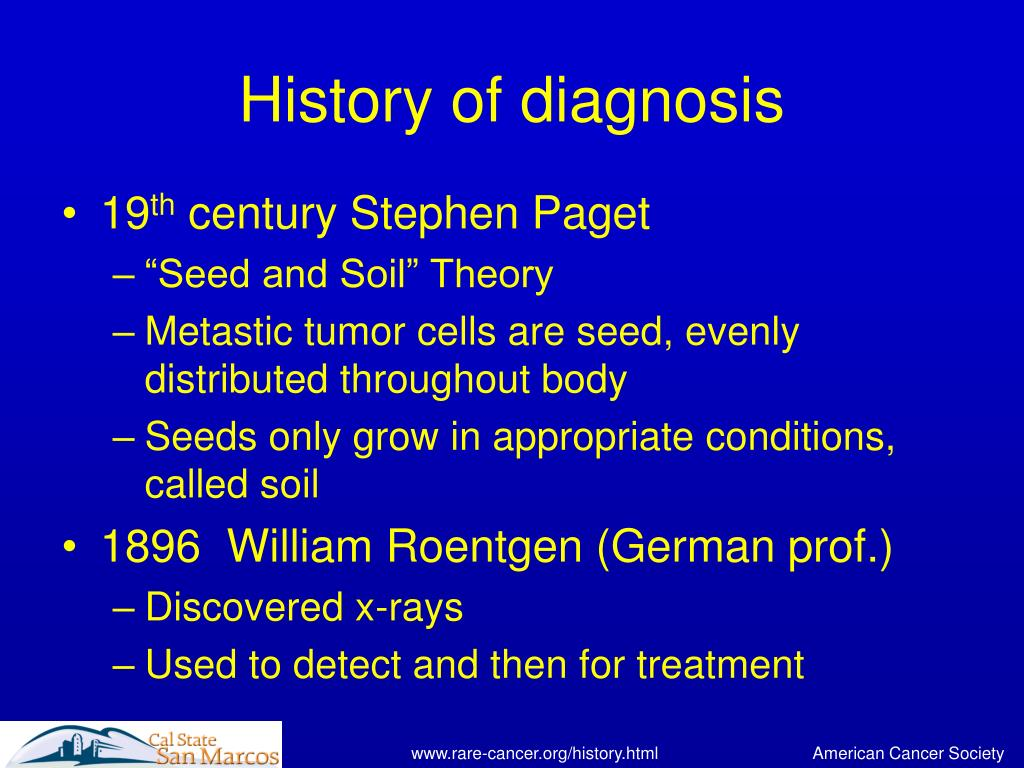 History of diagnosis