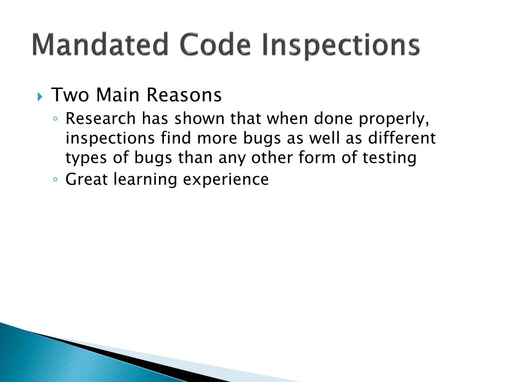 Mandated Code Inspections