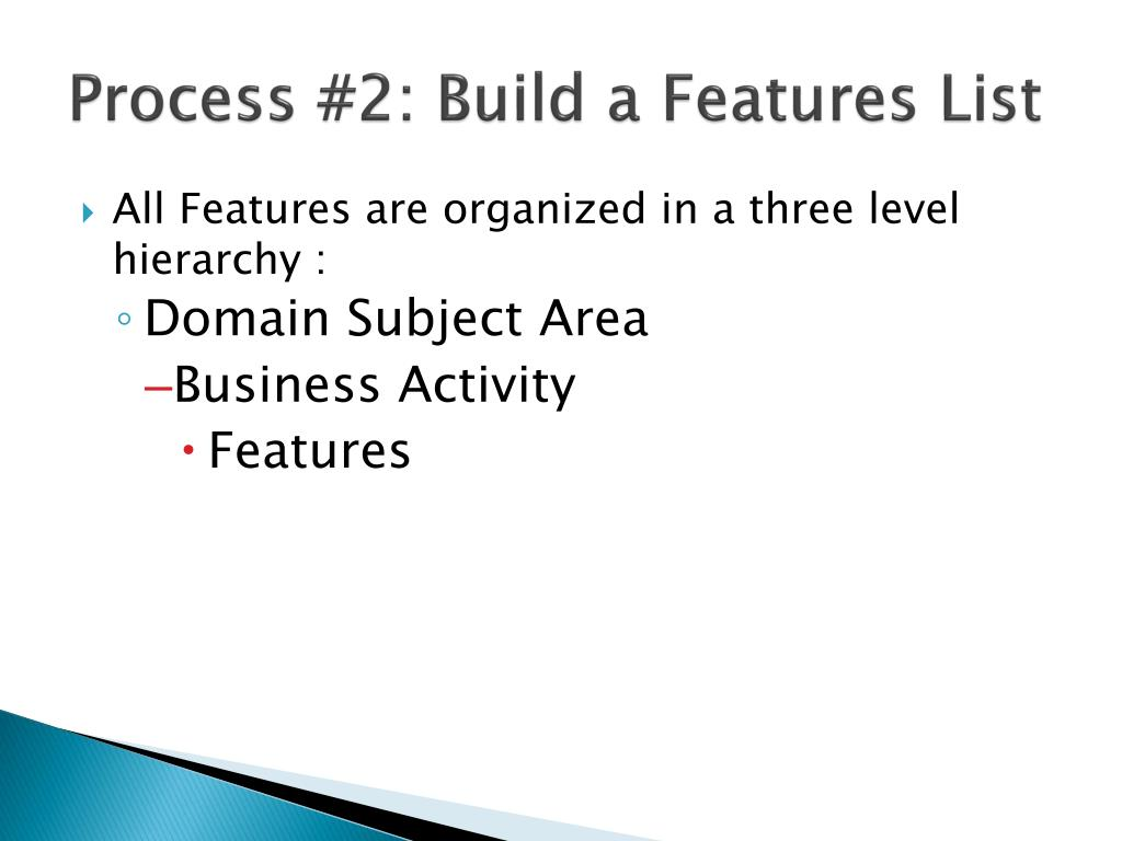 Process #2: Build a Features List