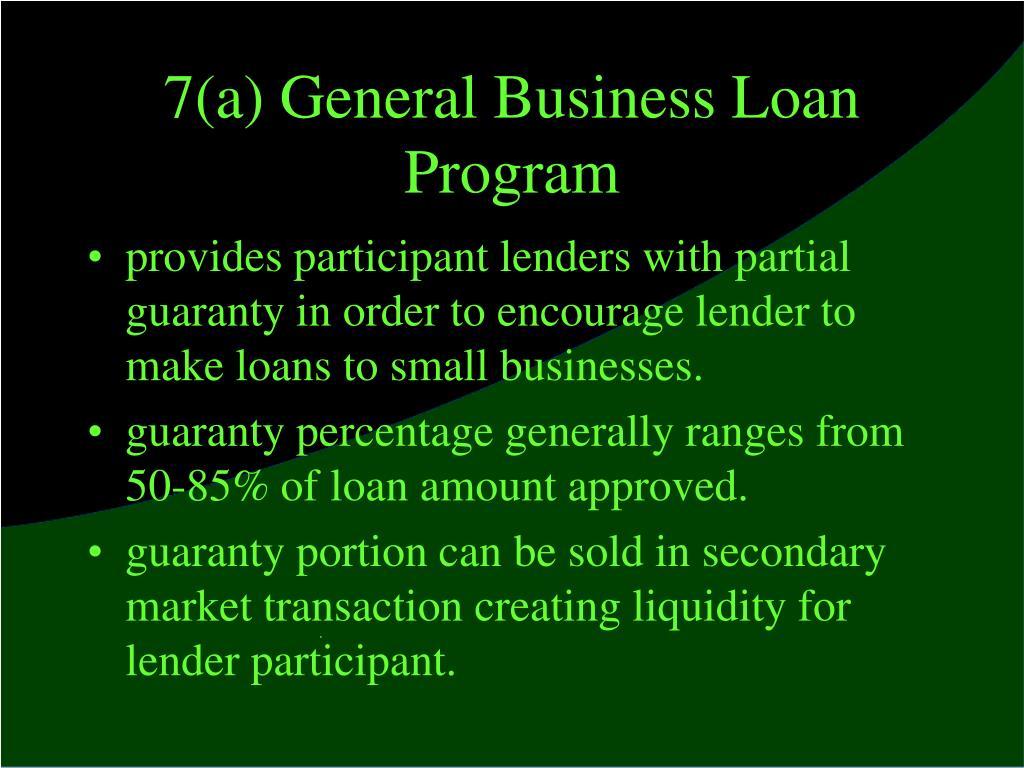 7(a) General Business Loan Program
